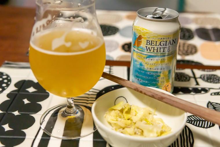 写真:ベルジャンホワイトとしらすとキャベツのポン酢炒め