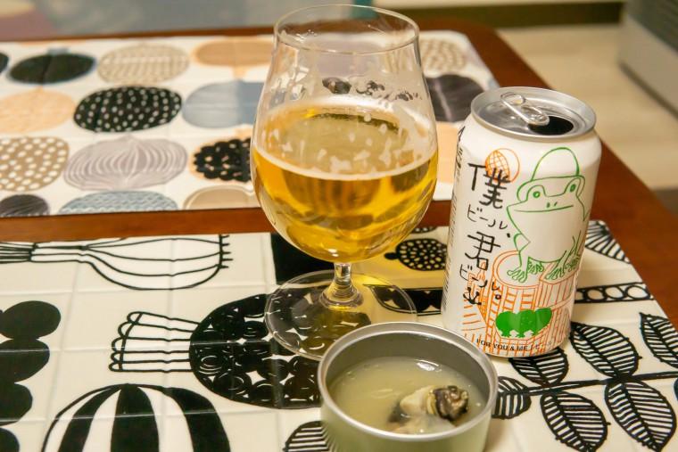 写真:僕ビール、君ビール。と北海道産つぶ貝の白ワイン蒸し