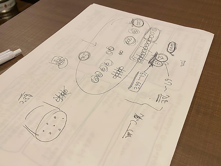 写真:齋藤さんが手書きした説明図
